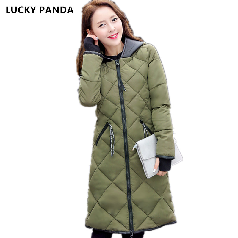 Lucky Panda 2016 New fashion Winter Women padded Jacket Slim long Down cotton Wadded Coat Women Hoodies Parkas Plus Size LKP279 lucky panda 2016 the new winter coat and female slim in the long and small lattice fragrant cotton lkp243