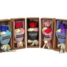 C подарок на день матери имитация цветка 3 Гвоздика мыло цветок подарочная коробка вечный букет цветов 520 свадебное украшение fO09