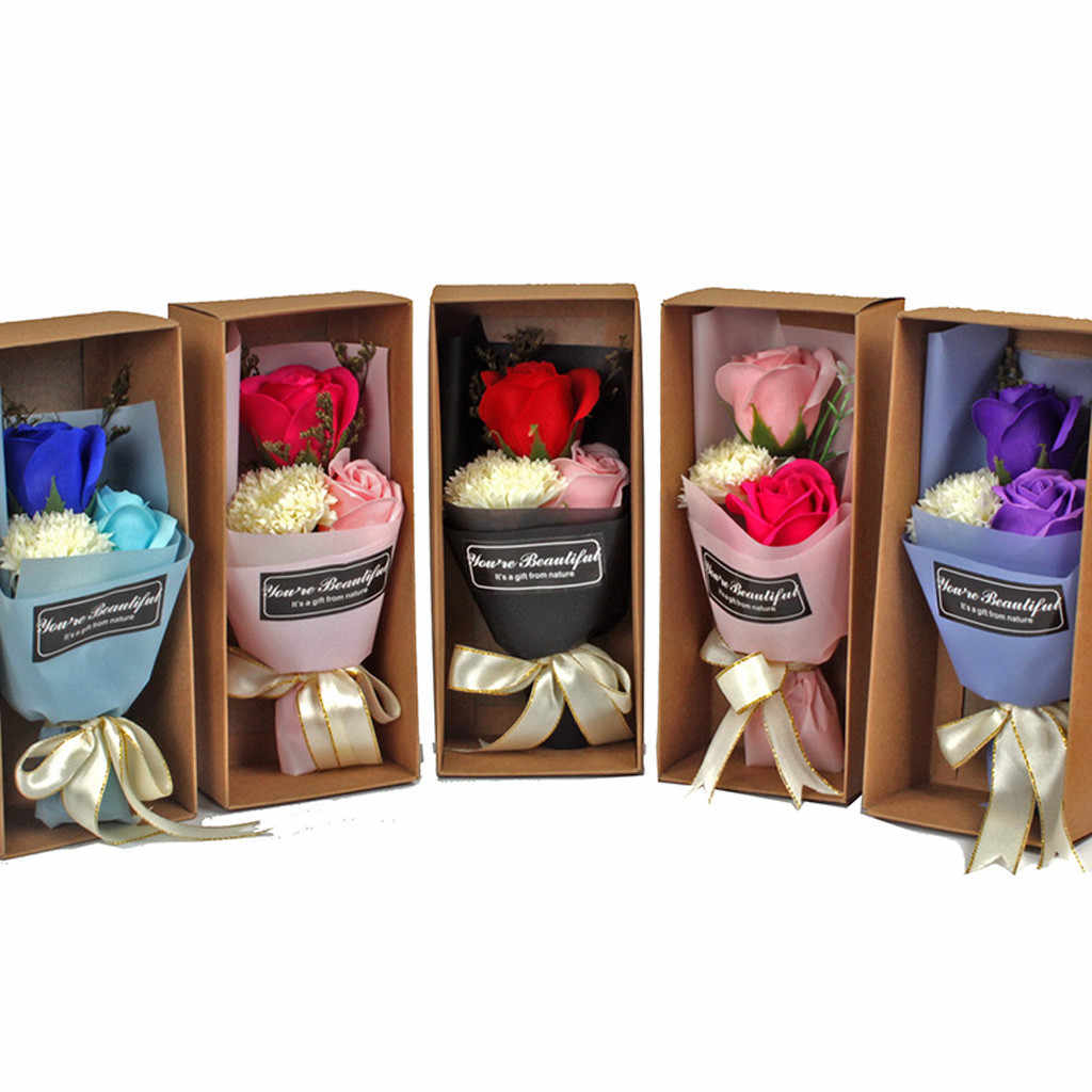 Mother's Day Gift Simulation Flower 3 Carnation Soap Flower Gift Box Everlasting Flower Bouquet 520  Wedding Decoration H0419