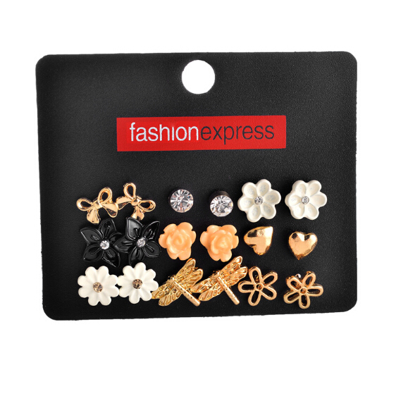22c5f9e14 Wholesale fashion accessories cheap stud earring sets 9 pairs/pack mixed  bow butterfly stars flower love heart gift for women