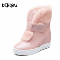 Warm Faux Fur Waterproof Snow Boots Women Winter Fashion Ladies Ankle Boots Big Size White Beige