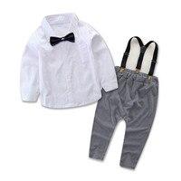 2 Stks Pasgeboren Baby Baby Jongens Gentleman Kleding Shirt Tops Lange Broek Outfits Set 0-24 M