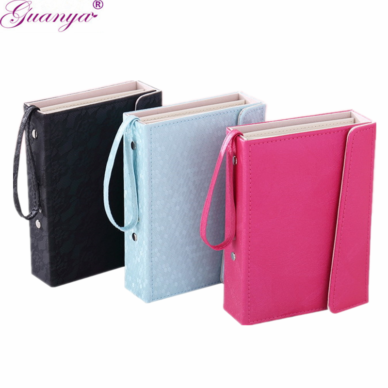 Guanya Book Leather Jewelry Brand Box earings organizer box Stud Hooks Holder Collection Portable travel Case girl Gift