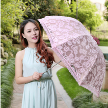 Folding umbrella Flower UV protection Sun Three-folding Umbrella fashion flower Embroidered lace