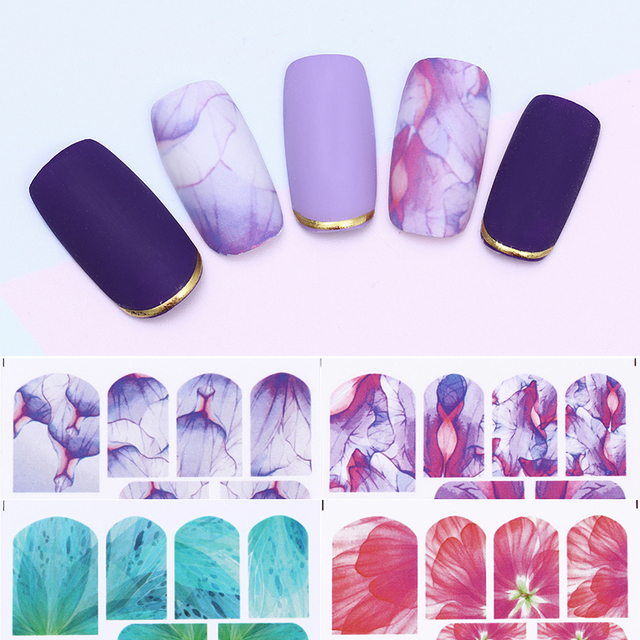 2 Sheets Water Decal Colorful Half Transparent Flower Nail Art ...