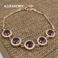 925 Sterling Silver Natural Garnet Female Bracelet Inlaid Jewelry Wholesale