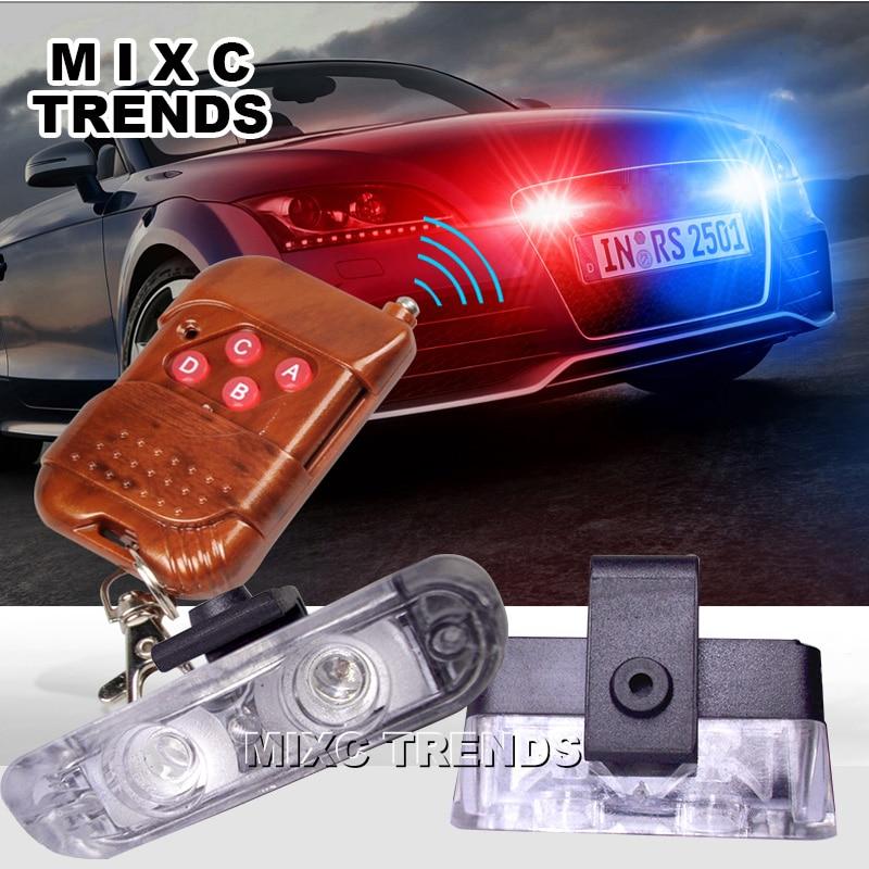 цена на 1Set DC 12V 2 LED Wireless Remote Flash Controller Strobe Car Truck Police Light Red and Blue Flashing strobe led Warning light