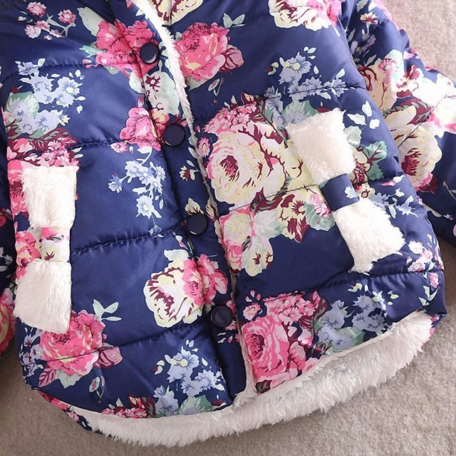 TWINSBELLA Girl Coat Frozen Winter 2017 Baby Girl Long Sleeve Flower Jacket Children Thick Warm Kids Christmas Jackets For Girls