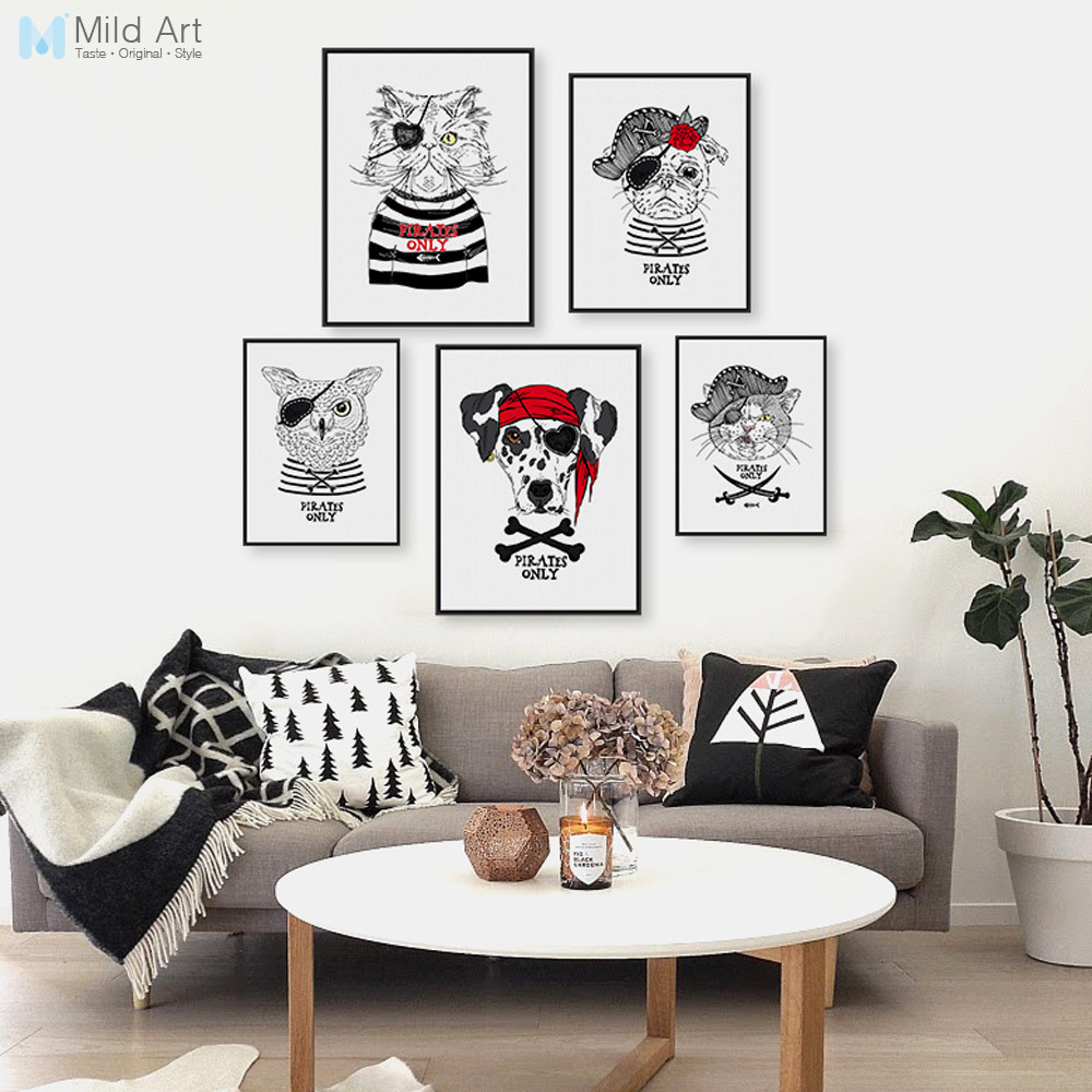 Vintage Retro <font><b>Hippie</b></font> Pirate Anmial Cat Dog Pet A4 Art Prints Poster Wall Pictures Canvas Painting Kids Room <font><b>Home</b></font> <font><b>Decor</b></font> No Frame