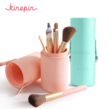 KINEPIN Brand Compact 7pcs Makeup Brushes Set Kit Travel Essential Portable PU Studio Brush Holder Tube Leather Cup Container