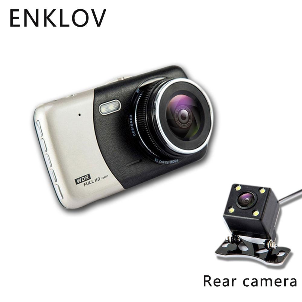 ENKLOV 4,0 pulgadas IPS pantalla coche DVR Cámara Full HD 1080 p Video 170 grado T810 Dash Cam Dual grabación Dash Cámara llenar de luz