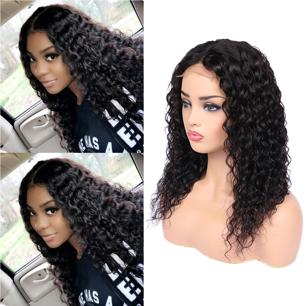 Glueless Water Wave Lace Front Human Hair Wig 4*4 Lace Closure Wet And Wavy Wig Brazilian Remy Wigs For Black Women Fave Hair