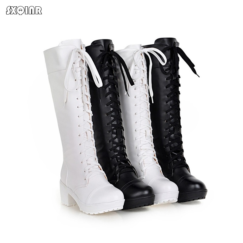 Fashion platform Heels Women Boots 2018 New spring Autumn Knee-High Boots Lace-up Thick bottom Woman Shoes Big Size 34-43