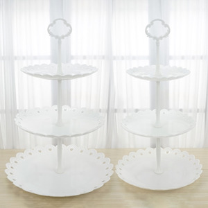 Soporte de postre de plástico transparente blanco de 3 niveles soporte de pastel y Magdalena soporte para servir plato para fiesta de boda