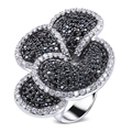 Real Gold Plated 235pcs Black and White Cubic Zircon Crystal Flower Women Dress Party Rings Bridal Wedding Jewelry Hot Sale