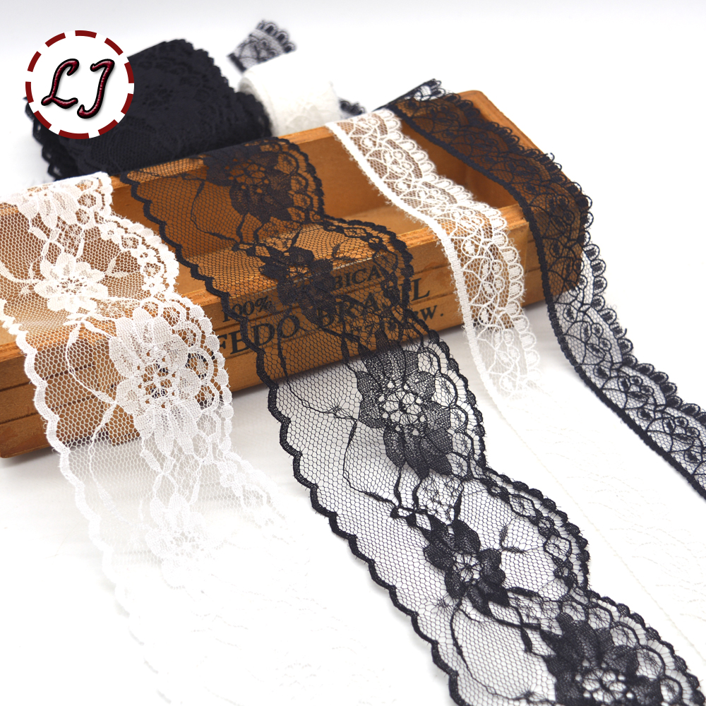 5yd Lot Black White Lace Trimmings Sewing Lace Ribbon