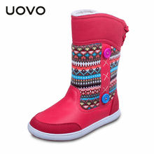 Uovo Winter Snow Boots Girl's Warm Snow Botas Children's Mid-Calf Boots Christmas Festival Bottes for Children Girl 18-22.7 cm