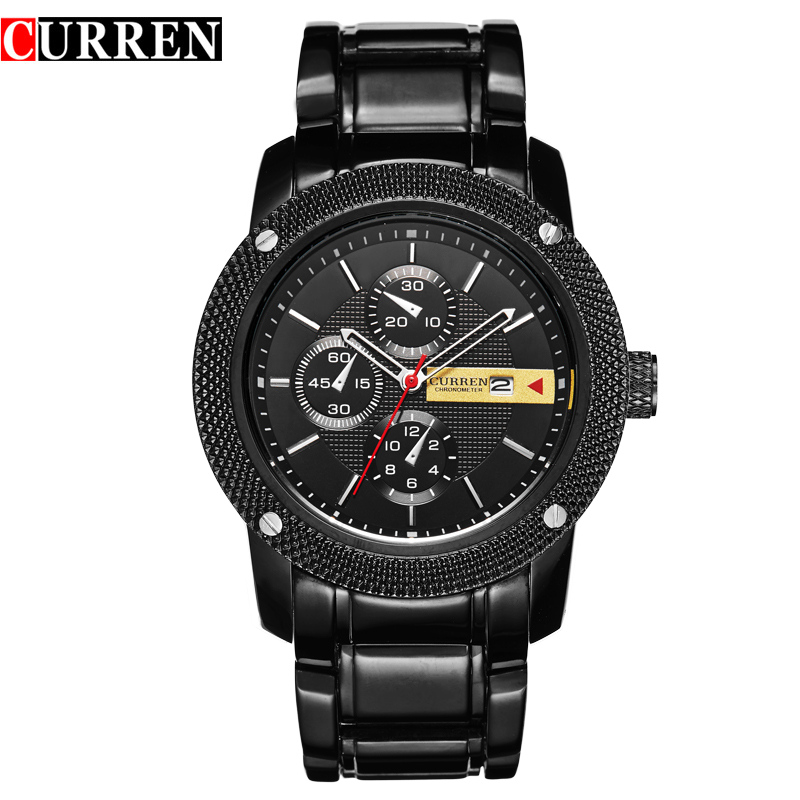 Curren 8069 Luxury Sport Quartz Men Wrist Watch Analog Round Wristwatch With Plated Metal Black Band Hours Date