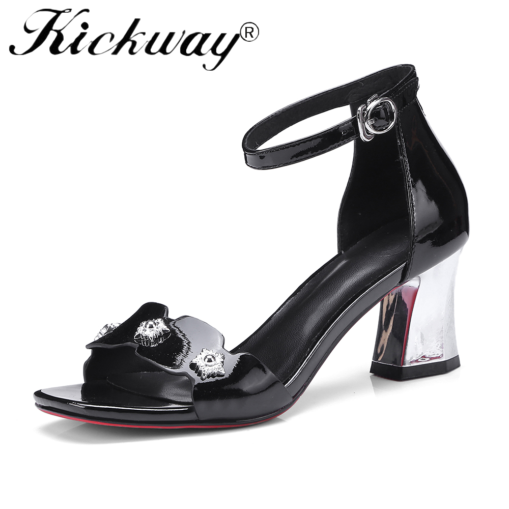 Kickway Shoes Women Sandals Summer 2018 Open Toe Ankle Strap Thick High Heels Sandals Black White Ladies Shoes Large Size 34-42 hxrzyz high heels sandals women rivet thick heel clear shoes summer fashion ladies open toe black white comfortable women shoes