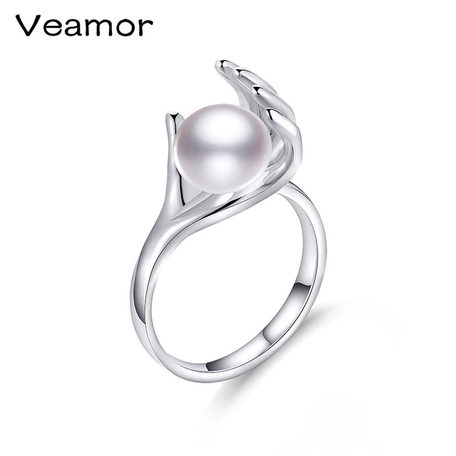 veamor pearl ring jewelry of individuality finger shape rings freshwater pearl wedding rings 925 sterling silver - Pearl Wedding Rings