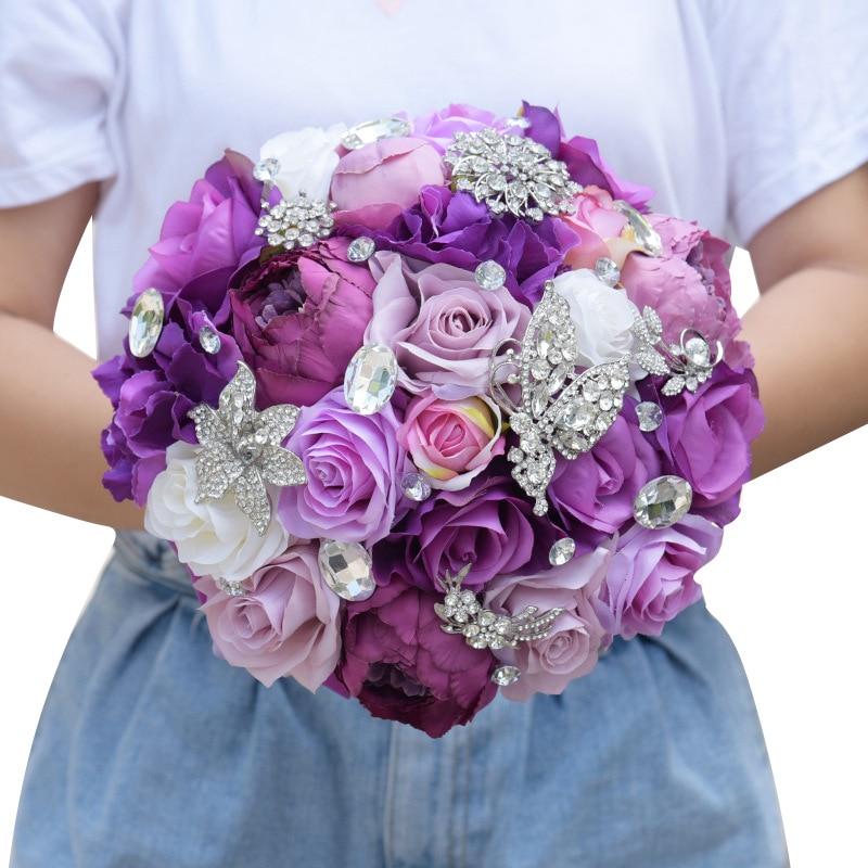 2018 Nouvelle conception Chaude pourpre rustique Soie Pivoine fleur bouquet ensemble arrangement pour le mariage mariées et demoiselle d'honneur