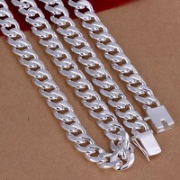 Men S 24 60cm 10mm 925 Stamped Silver Plated Necklace 115g Solid Snake Chain N011 Gift