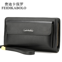 FEIDIKABOLO Famous Brand Leather Men Wallets Double Zipper Black Cover Coin Purse Men S Clutch Wallet