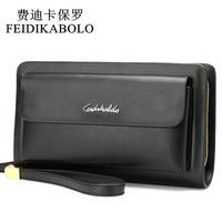 FEIDIKABOLO Famous Brand Leather Men Wallets Double Zipper Black Cover Coin Purse Men S Clutch Wallet