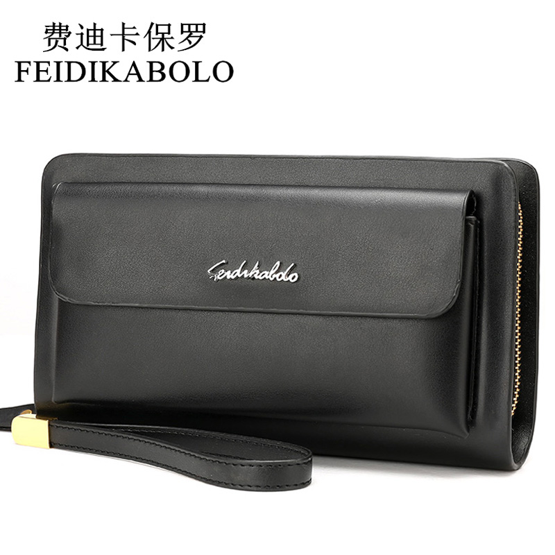 FEIDIKABOLO Famous Brand Leather Men Wallets Double Zipper Black Cover Coin Purse Mens Clutch Wallet Portomonee High Capacity