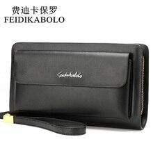 FEIDIKABOLO Famous Brand Leather Men Wallets Double Zipper Black Cover Coin Purse Men's Clutch Wallet Portomonee High Capacity