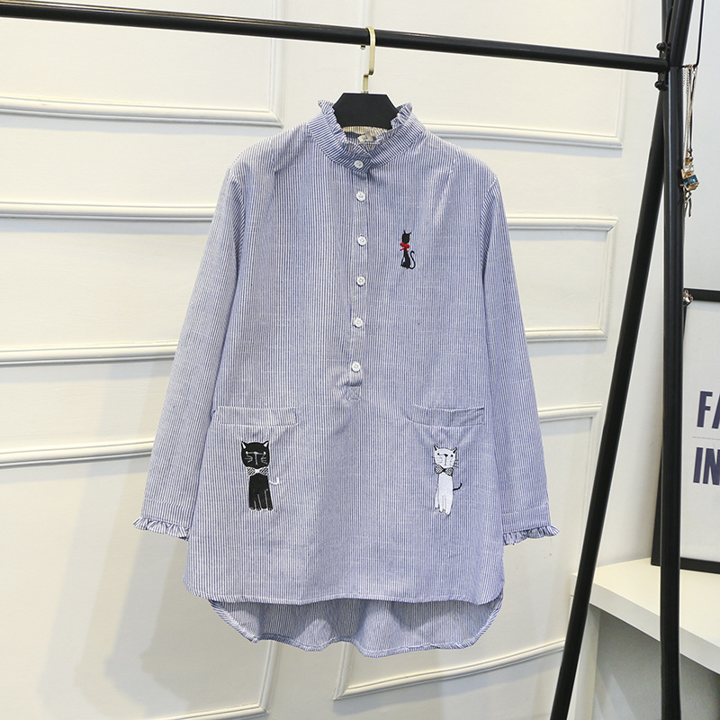 9e6746ded25ed Ubetoku 2018 Autumn Winter women long blouse lady long sleeve shirts cute  cat embroidery plus size fashion women stripe tops-in Blouses   Shirts from  ...