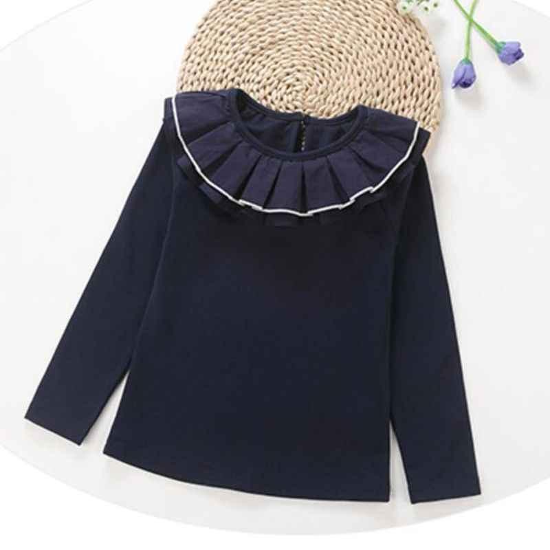 2-10 年秋冬綿白長袖シャツ女の赤ちゃんのためトップスとブラウス女子高生ブラウス子供シャツ