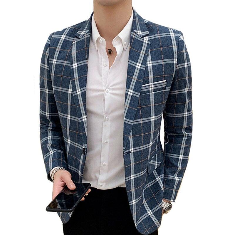 Blazer male spring and autumn new England plaid slim suit jacket / fashion banquet host professional casual men's suit coat