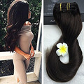 Full Shine New 100 Real Human Hair Extensions Clip ins Extension colour #2 Dark Brown 9Pcs/ Set Clip in Extensions 100g