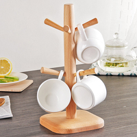 High Quality Tree Shape Wood Coffee Tea Cup Storage Holder Stand Kitchen Mug Hanging Display Rack