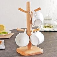High Quality Tree Shape Wood Coffee Tea Cup Storage Holder Stand Kitchen Mug Hanging Display Rack