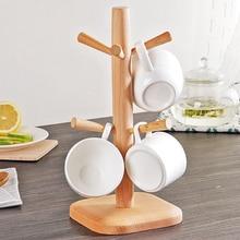 High Quality Tree Shape Wood Coffee Tea Cup Storage Holder Stand Kitchen Mug Hanging Display Rack Drinkware Shelf With 6 Hooks