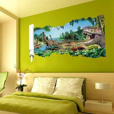 Kids 3D World Wall Sticker Jurassic Park Dinosaur Scroll Mural Art ...