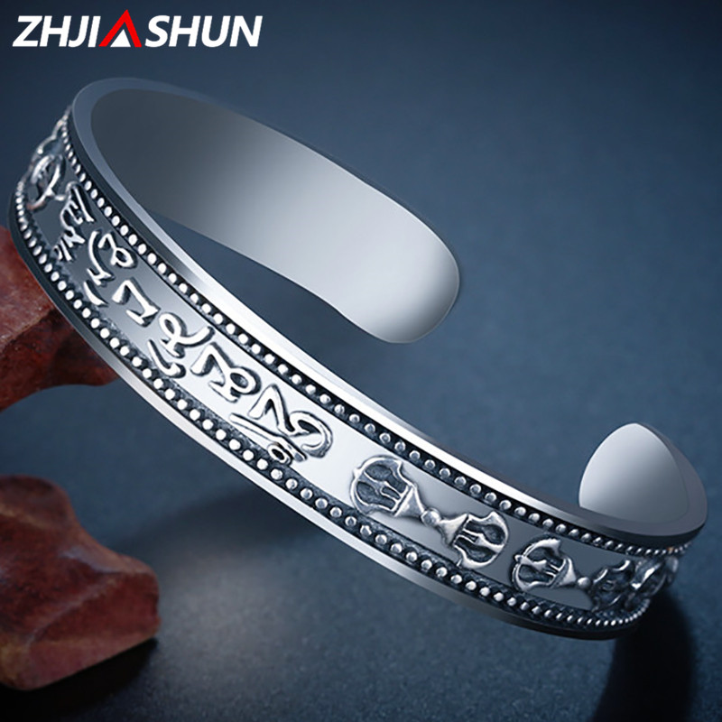 все цены на ZHJIASHUN 100% Real 925 Sterling Silver Bracelets for Women Men Cuff Bangles Vintage Open Jewelries