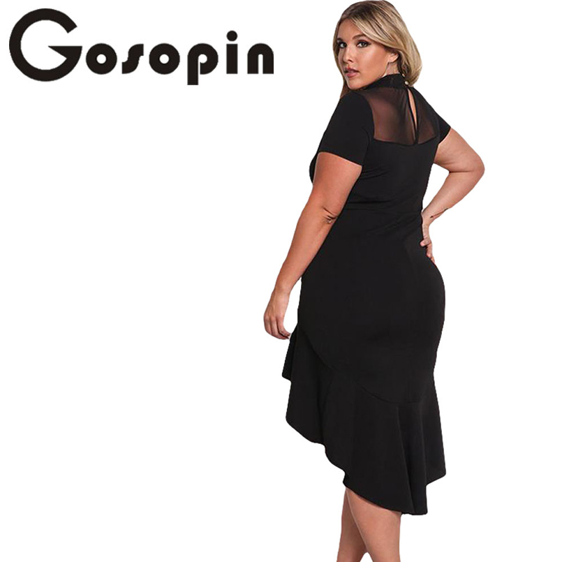 dfc9a7728083 Gosopin Summer Dress XXXL Ruffled Work Office Dress Plus Size Black Sexy  Club Dresses Womens Large Sizes Hollow Out Red LC61661-in Dresses from  Women s ...