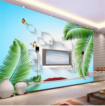 3d room photo wallpaper custom mural non-woven wall sticker Leaf simplicity butterflies painting TV setting wall 3d wallpaper Обои