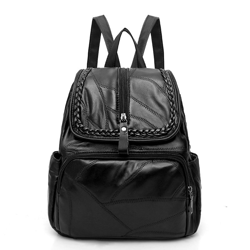New Natural Sheepskin Genuine Leather Women Backpack Korean Simple Fashion Preppy Style School Bag Casual Black Travel Bag women backpack fashion pvc faux leather turtle backpack leather bag women traveling antitheft backpack black white free shipping