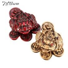 KiWarm удача фэн-шуй маленький трехногий деньги для фигурка лягушки на удачу китайская жаба монета металл ремесло Домашний декор бронза цвет красного дерева