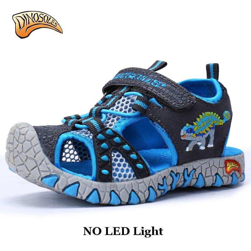 0ec2f7d2883db Dinoskulls no led Kids Children Beach Boys Shoes Sandals Summer 2018 Toddler  Sandals Leather Shoes Dinosaur Summer Shoes 27-34