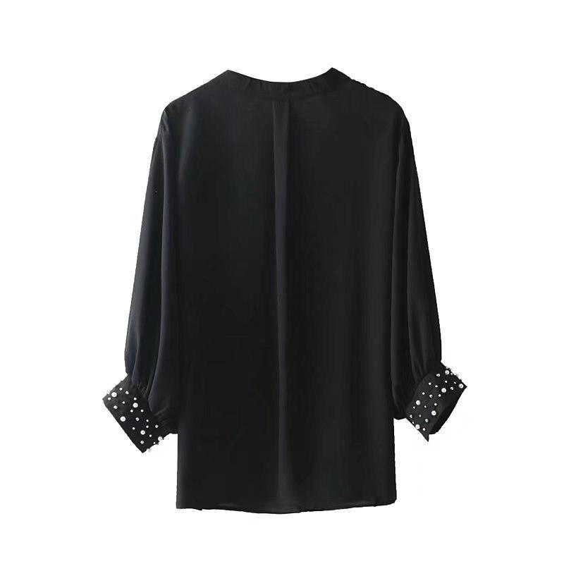 Lanbaiyijia 2018 Europa Amerika Stil Frauen shirts Mit V ausschnitt langarm Solide Sommer Hemd Perle dekoration Frauen Bluse S M L-in Blusen & Hemden aus Damenbekleidung bei  Gruppe 2