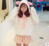 Princess sweet lolita hoodies Autumn and spring Lovely Sweet Soft Girl Korean Student Loose Hooded Rabbit Ear hoodies KKQ121