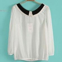 New Sweet Women's Girl Doll Collar Long Sleeve Bowknot Chiffon Shirt Tops Blouse 3 Colors Drop shipping *