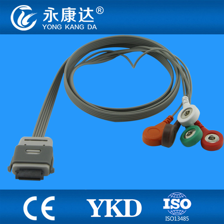 Compatibile EDAN BI9800/BI9000 holter ECG cavo, 5 cavi, Snap, AHA