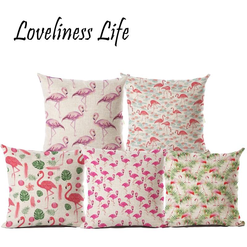 Moda Animal Estilo Flamingo Impreso de Dibujos Animados Almohada - Textiles para el hogar