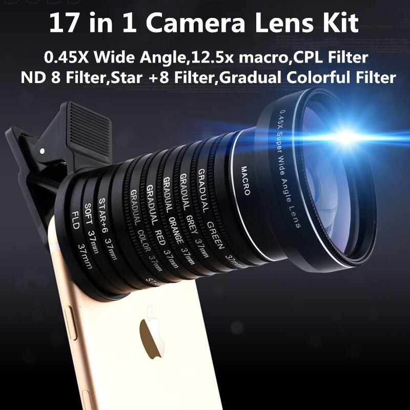 imágenes para Clip universal 17 en 1 lente de la cámara kit para el iphone samsung xiaomi teléfonos inteligentes lentes macro gran angular lente cpl nd8 estrellas gradual